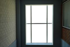 New modern plastic window. In dark room stock photography
