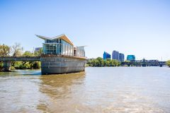 The new and modern Sacramento River Intake Facility; the city`s skyline in the background, California royalty free stock image