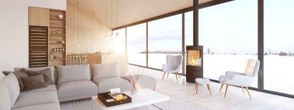 New modern scandinavian loft apartment. 3d rendering stock illustration