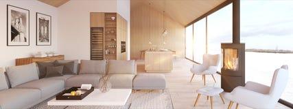 New modern scandinavian loft apartment. 3d rendering stock photos