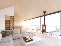 New modern scandinavian loft apartment. 3d rendering vector illustration