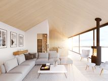 New modern scandinavian loft apartment. 3d rendering royalty free stock image