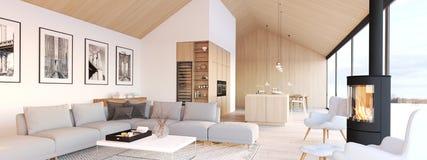 New modern scandinavian loft apartment. 3d rendering stock photography
