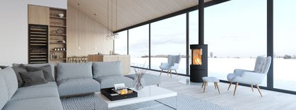 New modern scandinavian loft apartment. 3d rendering royalty free stock photography
