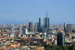 New modern skyline in Milan Stock Photos