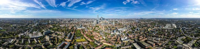 New Modern South London City Aerial Skyline with 360 Degree Panorama View. Feat. Suburban Neighbourhood and Central London Buildings in the background around stock photo