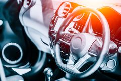 New modern sport luxury car Interior steering wheel Royalty Free Stock Image