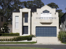 New Modern Suburban House. New Modern Town House In A Sydney Suburb On A Sunny Summer Day, Australia royalty free stock images