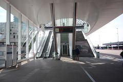 New modern subway station of metro randstadrail line E in The Hague at the central station. Where Den Haag and Rotterdam are now also via light rail connected royalty free stock image