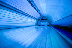 New modern tanning bed. Closed, image taken as a wide angle shoot from the inside Stock Images