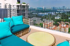 New modern terrace, balcony on roof of high rise building with beautiful view of cityscape. Royalty Free Stock Photo