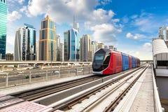 New modern tram in Dubai stock images