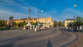 New modern trams of Croatian capital Zagreb timelapse near railway station. ZAGREB, CROATIA stock video footage