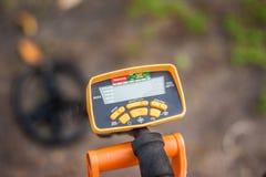 Modern treasure hunter metal detector stock images