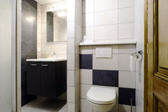 New modern wc with douche in apartment Stock Images