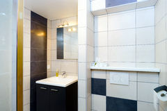 New modern wc with douche in apartment Royalty Free Stock Photos