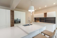 New modern white kitchen. New luxury home. Interior photography Royalty Free Stock Photography