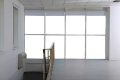 New modern window. In light empty room stock photos