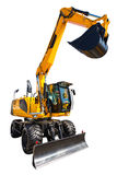 New and modern yellow excavator machines isolated on white Royalty Free Stock Photography