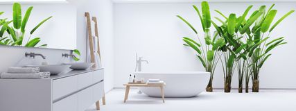 New Modern Zen Bathroom With Tropic Plants. 3d Rendering Royalty Free Stock Photos