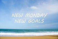 NEW MONDAY NEW GOALS Concept stock photos