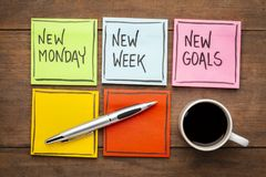 New Monday, week and goals. New Monday, new week, neew goals - handwriting on colorful sticky notes with a cup of coffee stock image