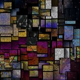 New Mondrian. Modernism. Mondrian style. Image composed entirely of text, words stock illustration
