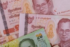 New money banknotes of thailand baht bill closeup. Close up New money banknotes of thailand baht bill cash bath currency finance rama 9 investment banking royalty free stock photos