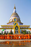 New monk. CHIANG MAI, THAILAND - MAY 14 :Newly ordained Group Buddhist monk has a ritual in the temple procession in Thailand on MAY 14, 2012. Row of Buddhist Stock Images