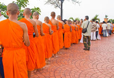 New monk in chiang mai, THAILAND. CHIANG MAI, THAILAND - MAY 14 :Newly ordained Group Buddhist monk has a ritual in the temple procession in Thailand on MAY 14 Royalty Free Stock Photos