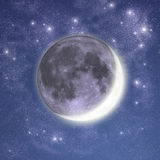 New moon. Ash-grey light of new moon in the spring nigth sky Royalty Free Stock Image