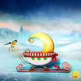 New moon. In christmas sled Royalty Free Stock Photography