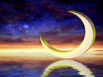 New moon. A new moon Over Sea and beautiful romantic cosmic sky Stock Photography