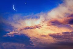 Light from sky . Religion background . beautiful cloud . background sky at sunset and dawn . New moon. Prayer time. Generous Ramadan. Mubarak background. A stock image