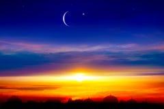 Religion background . city silhouette mosque. New moon. Prayer time. Generous Ramadan. Mubarak background royalty free stock images