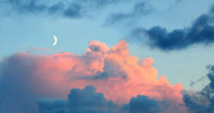 New moon at sunset Royalty Free Stock Image