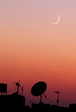 The new moon or crescent during sunset in ramadan month in egypt in africa Stock Images