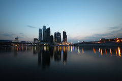 New Moscow City business complex at evening royalty free stock images