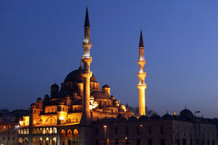 New Mosque. At night in Istanbul Royalty Free Stock Photo