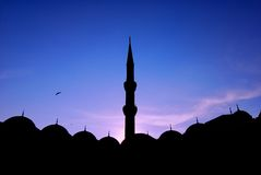 New Mosque. A New Mosque details with minaret in Istanbul in backlight Royalty Free Stock Image