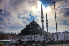 New Mosque And Traffic on Motorway Eminonu Istanbul. New Mosque And Cars Traffic on Motorway Eminonu Fatih Istanbul, Turkey stock photos
