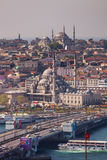 The New Mosque. ISTANBUL, TURKEY – APRIL 28: The New Mosque and neighborhoods along the Bosphorus on April 28, 2012 in Istanbul, Turkey prior to Anzac Day Royalty Free Stock Images