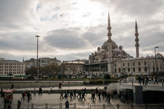 New Mosque, Istanbul, Turkey at Galata brdige Stock Image