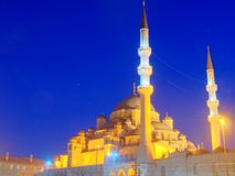 New mosque at night. New Mosque in Istanbul Turkey illuminated at night, HDR image Stock Photo