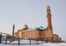 New mosque in Novosibirsk, Russian Federation. Winter city royalty free stock photo