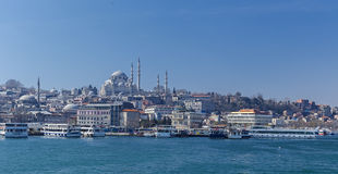 New Mosque and Suleymaniye Mosque in Istanbul Royalty Free Stock Photos