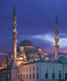 The New Mosque Yeni Camii. At night in Istanbul Turkey Stock Photography