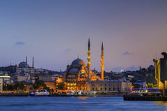 The New Mosque ( Yeni camii ) at night,Istanbul,Turkey. Stock Photo
