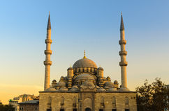 The New Mosque (Yeni) at sunset, twilight. Royalty Free Stock Images