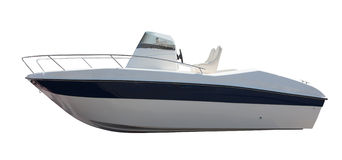 New motor boat. Isolated over white Royalty Free Stock Photos